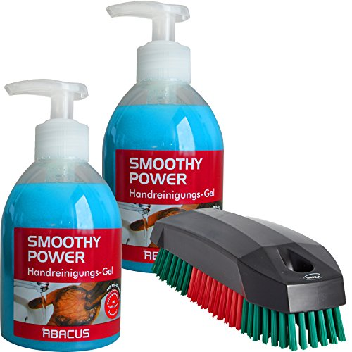 SMOOTHY POWER VIKAN Kit (7275) 2 x 300 ml SMOOTHY POWER + 1 x brosse à main VIKAN 644052 - Peeling Mains Handpeeling Savon d'atelier de bricolage professionnel de suie