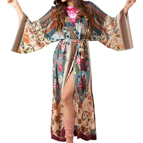 Cutebility Frauen Strand Badeanzug Cover Up Boho Mit Blumenmuster Vorne Offen Kimono Cardigan Lange Ärmel Belted Wrap Vorderseite Split Maxi Robe -