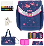 7 SET HERLITZ FLEXI PLUS Schulranzen Ranzenset Schultasche Mäppchen gefüllt + Sporttasche ek (Butterfly Dreams (09))