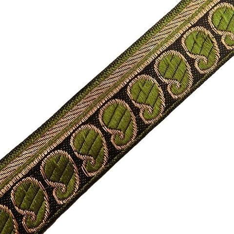 Handgemachte Grün Jacquard Band-Ordnungs-Paisley-Muster Woven Sari Border Spitze 4 Yards