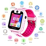 Edited Kinder Smart Watch Armbanduhr Wasserdicht | Touchscreen mit Kamera, Live GPS, Telefon, Spiele, Wecker, SOS Notruf usw. | Geschenke für Mädchen Jungen Kinder (Pink)