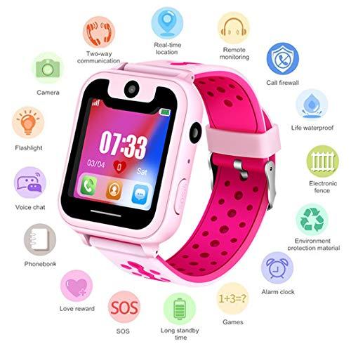 Watch Armbanduhr Wasserdicht | Touchscreen mit Kamera, Live GPS, Telefon, Spiele, Wecker, SOS Notruf usw. | Geschenke für Mädchen Jungen Kinder (Pink) ()