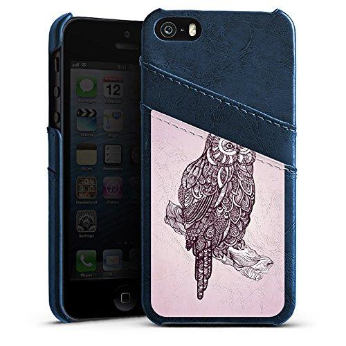 Apple iPhone 4 Housse Étui Silicone Coque Protection Hibou Hibou Uhu Étui en cuir bleu marine