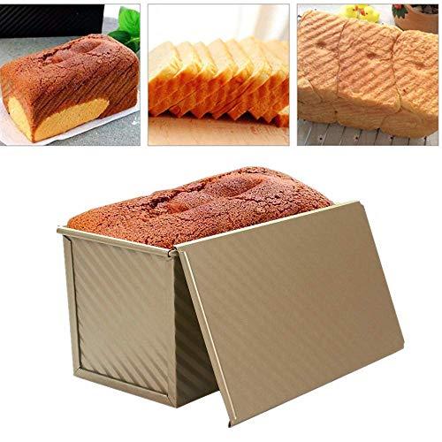 EMILF Home Bandeja para Pan Tostado con Tapa Molde para Pan Tostado Bandeja para Hornear Herramienta para Hornear en la Cocina (Dorado) (Color : Gold)