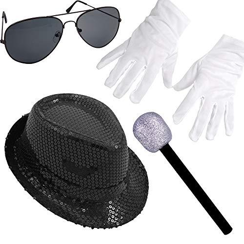 German Trendseller® - Pop Star - Kostüm - Set - Black Deluxe ┃ Michael Jackson ┃ Schwarzer Pailletten Hut + Mikrofon + Handschuhe + Brille┃4 TLG. Set