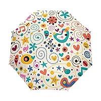 Jeansame Cute Cartoon Stars Emoji Birds Folding Compact Umbrella Automatic Sun Rain Umbrellas for Women Men Kid Boy Girl
