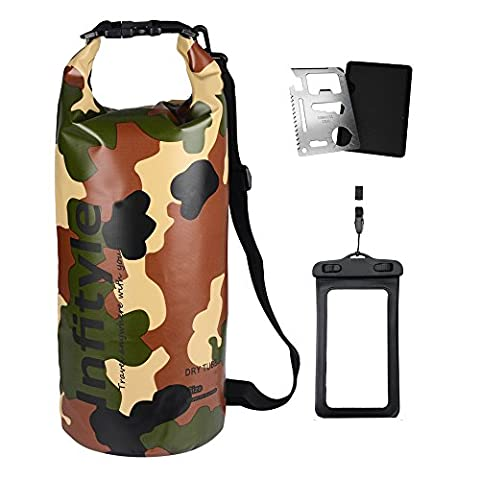 Waterproof Dry Bags - Floating Compression Stuff Sacks Gear Backpacks for Kayaking Camping - Bundled with Phone Case and Pocket Tool (Camouflage, 30L)