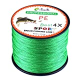 SOMESUN Geflochtene Schnüre Angelschnüre 500 Meter PE Braided Fishing Line Super Starke Multifile Angelschnur Angelschnüre Geflochten Schwarz 9KG (1.0/18LB, Grün)