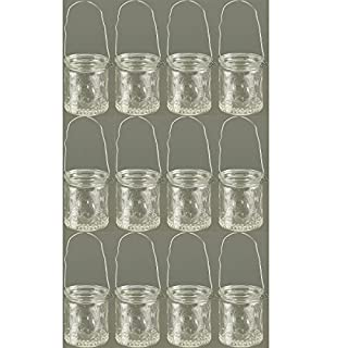 Annastore 12 Stück Windlichter aus weissem Glas mit Henkel