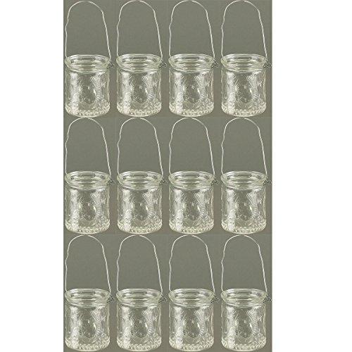 12 Stück Windlichter aus weissem Glas mit Henkel