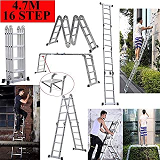 14-in-1 4x4 Aluminium Multi Purpose Folding Extension Ladder 4.7M 15.5FT Heavy Duty Combination Step 1 Painting Tray Manufactured to EN131 Up to 330lbs/150kg
