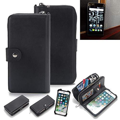 K-S-Trade 2in1 Handyhülle für Kodak Ektra Schutzhülle & Portemonnee Schutzhülle Tasche Handytasche Case Etui Geldbörse Wallet Bookstyle Hülle schwarz (1x)