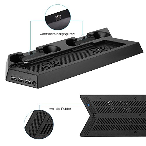 Althemax ® Belüftung Cool Ladestation Dock mit 2 Double High Speed Cool Fans 3 USB Hub 2 Controller Dock Ladung für PS4 Playstation 4