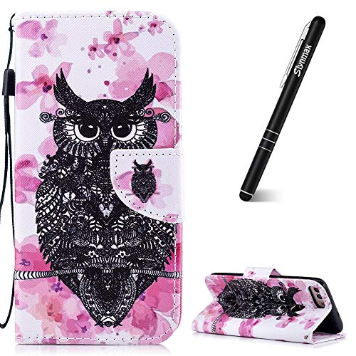 Slynmax Huawei P Smartphone Hülle Flip Leder Brieftasche mit Standfunktion Cover + 1x Stylus Pen Pink Flower Owl Owl Mobile