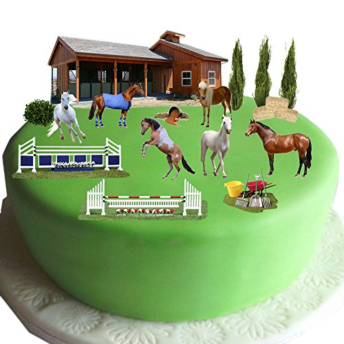 Equestrian Pferd & Pony Kuchen Szene aus Essbar Wafer Papier-Perfekt für Dekorieren Ihren Geburtstag Dekorationen einfach zu verwenden