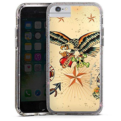 Apple iPhone 8 Bumper Hülle Bumper Case Glitzer Hülle Schiff Anchor Anker Bumper Case Glitzer rose gold