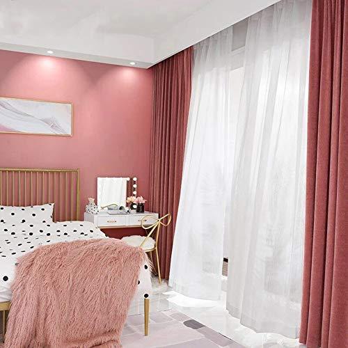 BZ-ZXS Baumwollflanell Flanell Velvet Vorhang In Edler Samtoptik Schlafzimmer Gardine, Licht Blockierend,Pink,W200xL250cm -