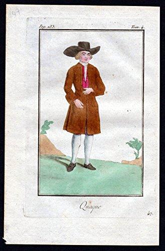 Quaque - Quäker Religion Großbritannien Great Britain costume Kupferstich Tracht antique print