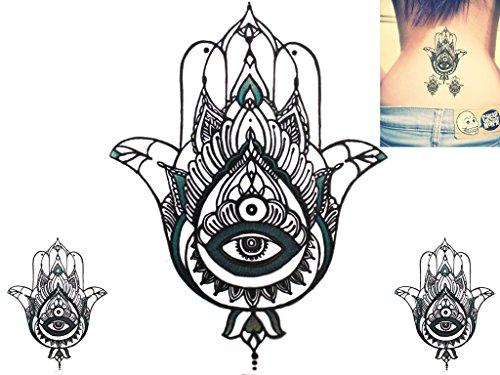 st Temporäre Tätowierung Tattoo hand painted wasserfest transfer 'Hamsa Serene Blau Palm Auge' design (17cm x 13cm) ()