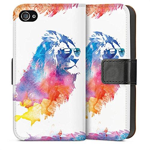 Apple iPhone 5s Housse Étui Protection Coque Lion Peinture à l'eau couleurs Sideflip Sac