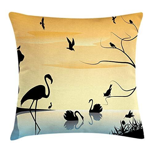 GONIESA Landscape Throw Pillow Cushion Cover, Early Morning The Sea Sunrise Scenery Exotic Animals, Decorative Square Accent Pillow Case, 18 X 18 Inches, Pale Orange Pale Blue Black