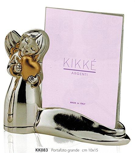 Porta foto con angelo cuore kikke cm10x15 inserti dorati laminato argento made in italy