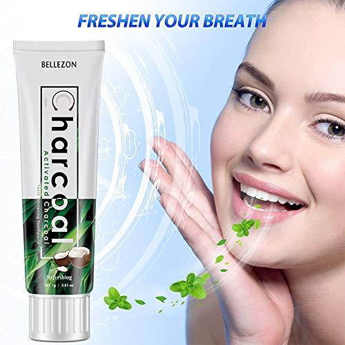 Pasta dental blanqueadora Ocamo, para el cuidado de los dientes, de carbón activado natural, de bambú