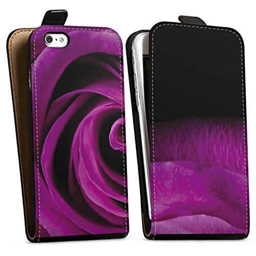 Apple iPhone X Silikon Hülle Case Schutzhülle Lila Rose Blüte Downflip Tasche schwarz