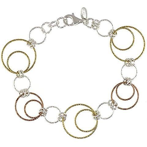 Revoni Sterling Silber Draht Dangling Kreise zum Aufhängen Creolen diamantiert 7,5in. Armband w/Weiß, Gelb & Rose Gold Finish, 1in. (25mm) (Fashion Stretchable Armband)