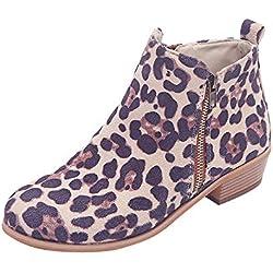 Botas Chelsea para Mujer Otoño Invierno 2018 PAOLIAN Botas Militares Zapatos de Señora Moda Botines cuña tacón Talla Grande Casual Calzado de Terciopelo Dama Estampado de Leopardo