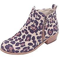 Botines cortos de mujer,Sonnena Botines Ladies Suede Martín Boots Zapatos con cremallera Leopard Print Martin Boots