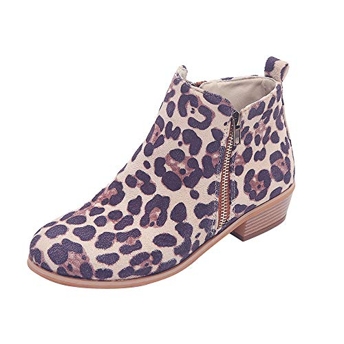 VJGOAL Damen Stiefel, Damen Chic Retro Stiefel Casual Leopard Print Knöchel Kurze Ritter Wildleder Reißverschluss Wedge Schuhe Booties (Khaki, 34 EU) (Print Wedge Leopard Booties)