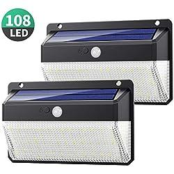 Lampe Solaire Extérieur 108 LED, Yacikos [Version Innovante 2200mAh 2 Pack] Éclairage Solaire Extérieur 270° Détecteur de Mouvement, Lampe Sécurité Spot Solaire Étanche Lumière Solaire pour Jardin