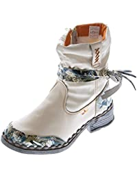 b0fa921c77 Leder Damen Winter Stiefeletten Comfort Boots Knöchel Schuhe Schwarz Weiß  Grün Blau TMA 5050 gefüttert