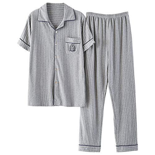 Wsxxnhh Pyjamas Herren Sommer Gestreiften Kurzarm-Home-Service Herren Sommer Stricken Baumwolle Herren Hose Strickjacke XL Anzug L - Stricken Herren-pyjama
