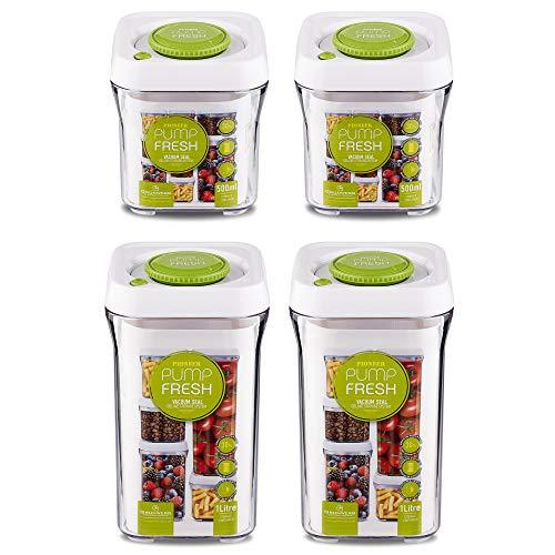 Pioneer Pump Fresh Vakuum Seal Kanister Food Aufbewahrung Tupperware Boxen Set von 4, Plastik, weiß/grün, 21.7 x 11 x 30.8 cm -