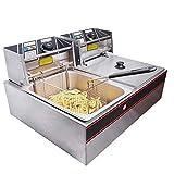 Bhavya enterprises 18/10 Steel Commercial Deep Fat Fryer, 6+6 L, Silver