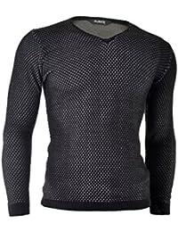 D&R Fashion Hommes Pull Sweatshirt Slim Fit Casual hiver Porter Noir Bleu Bordeaux