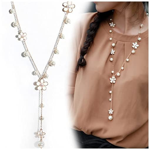 Long Chain Necklace Crystal white Flower with simulated pearl Chain Pendant for women clothing accessory Jewelry