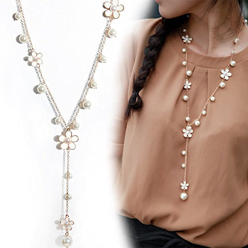 - 51HDRirlFRL - SwirlColor Fashion faux Pear necklace simulated pearl necklace with white flower for women clothing accessory