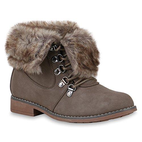 Damen Schuhe Worker Boots Warm gefüttert mit Blockabsatz Flandell Khaki Brooklyn