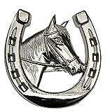 Amesbichler Autohufeisen mit Pferdekopf | Autozierhufeisen | Autodeko | Autodekoration | Kühlerfigur | Pferd Hufeisen Chrom | Auto Grilldekorierung