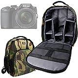 Sac à dos résistant à l'eau motifs camouflage pour appareils photo Panasonic Lumix GF8 et DMC-FZ300, Nikon Coolpix B500 et B700 Bridge, Pentax K-1 SLR et leurs accessoires - compartiments modulables