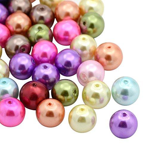 Pandahall 200PCS 6mm Perline Vetro Perline per Bigiotteria Perline Colorate Rotonde Miste, Tinto, 6mm in Diametro, Foro: 0.5mm