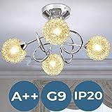 Lampe de Plafond | Ø36cm, 4 flammes, G9, Ronde, A++, IP20, Moderne, en Fil...