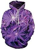 Imbry Herren Slim Fit Hoodie Long Sleeve Kapuzenpullover 3D Druck Muster Sweatshirt Pullover (2XL/3XL, Ahornblatt - lila)