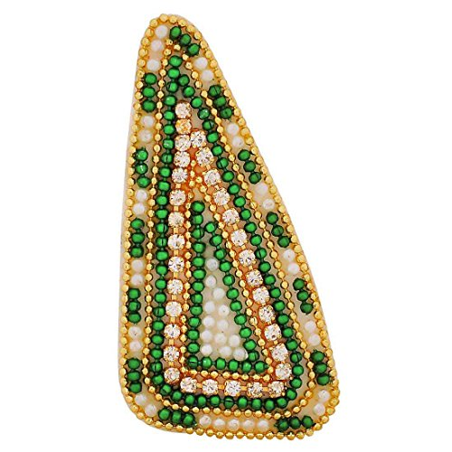 Maayra Green Brooch Dailywear Saree pin Hand Woven Beads Work
