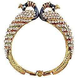 Zeneme Dancing Peacock Multicolor American Diamond Kada Bracelet For Women