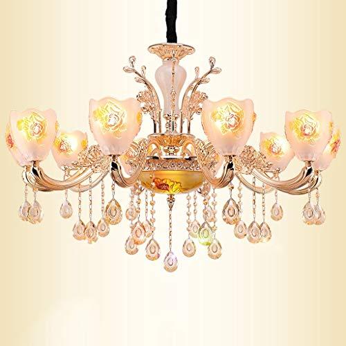 Kronleuchter Europäischen Kristall Kronleuchter Wohnzimmer Esszimmer Kristall Zink-Legierung Jade Kerze Lampe Dekorative Beleuchtung A + (Größe: 10 Kopf) -