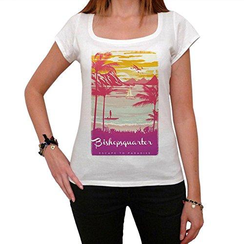 Bishopsquarter, Escape to paradise, maglietta donna, tshirt estate donna, tshirt spiaggia Bianco